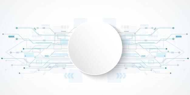 Fondo astratto del circuito di tecnologia con l'insegna bianca del cerchio
