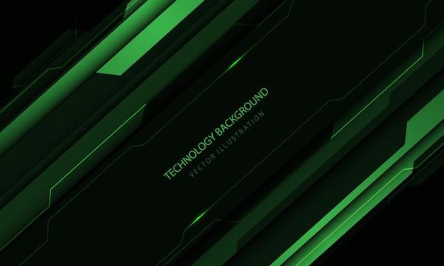Tecnologia astratta circuito cyber tono verde taglio metallico velocità design moderno sfondo futuristico