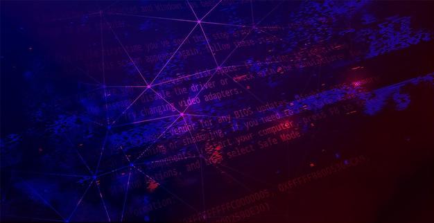 Sfondo scuro tecnologia astratta. attacco informatico, ransomware, concetto di scareware di malware