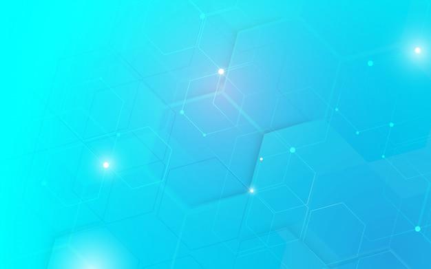 Fondo astratto di concetto di esagoni di tecnologia digitale ciao di tecnologia.