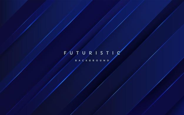 Tecnologia astratta futuristica blu scuro strati sovrapposti sfondo con linee a strisce blu incandescente