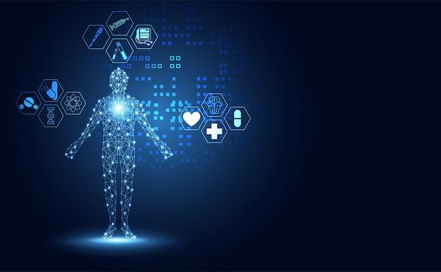 Icona di assistenza sanitaria scienza astratta tecnologia umana