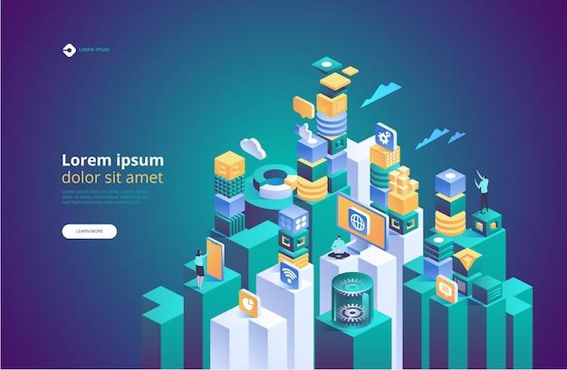 Tecnologia astratta isometrica. concetto di gestione della rete dati