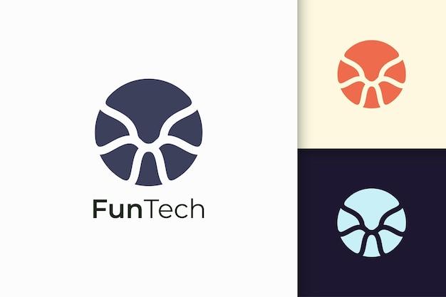 Il concetto di logo astratto della tecnologia rappresenta dati e sistema