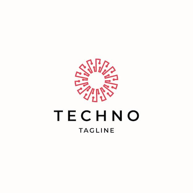 Modello astratto di progettazione dell'icona di logo di tecnologia piana vector
