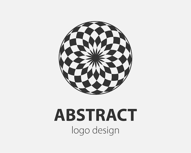 Logo di tecnologia astratta, superficie sferica con motivo astratto. adatto per aziende globali, tecnologie mondiali, media e agenzie pubblicitarie.