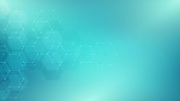 Tecnologia astratta o sfondo medico con motivo a forma di esagoni. concetti e idee per la tecnologia sanitaria, la medicina dell'innovazione, la salute, la scienza e la ricerca.