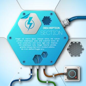 Illustrazione piana astratta di potere e di energia di tecnologia