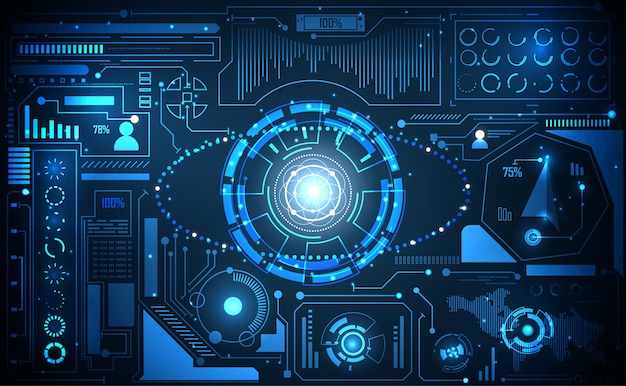 Tecnologia astratta ui concetto futuristico ai hud interface