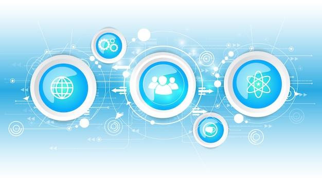Fondo astratto di vettore di tecnologia con le icone