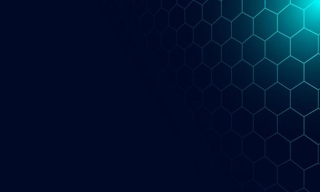 Tecnologia astratta con sfondo blu linea esagonale. design intelligente per la promozione dei dati delle offerte.