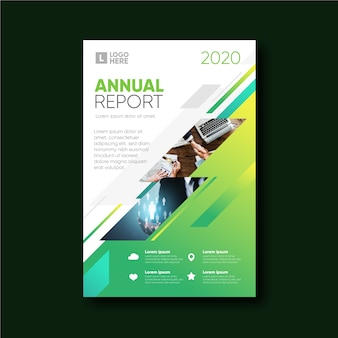 Rapporto annuale modello astratto con foto