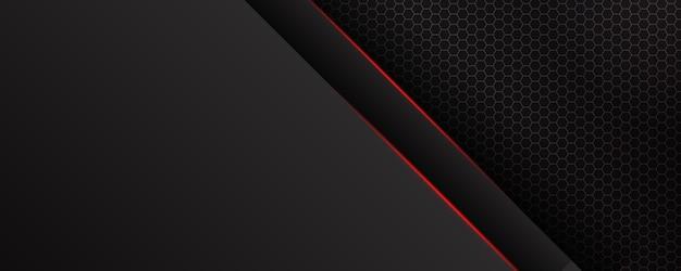 Modello astratto sfondo nero con motivo a triangoli e linee di illuminazione rosse. concetto di design moderno di tecnologia sportiva.