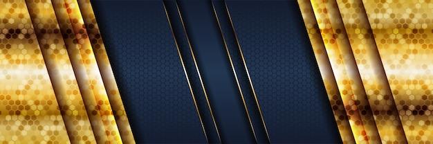 Modello astratto sfondo blu scuro di lusso con linee di illuminazione d'oro