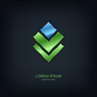 Modello astratto logo, idea universale di tecnologia aziendale