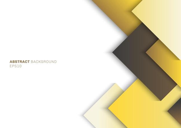 Quadrato giallo del modello astratto con strato di sovrapposizione dell'ombra sullo spazio bianco del fondo per il vostro testo.