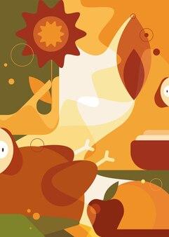 Manifesto astratto del ringraziamento. cartolina di vacanza design in stile piatto. Vettore Premium