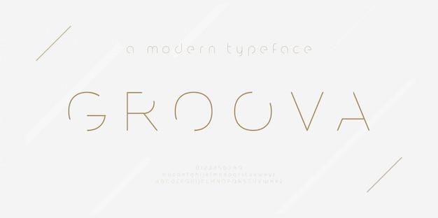 Alfabeto di carattere astratto linea sottile. caratteri e numeri minimali della moda moderna. carattere tipografico maiuscolo minuscolo e numero