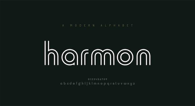 Alfabeto di carattere astratto linea sottile. caratteri e numeri di moda moderna minimal.