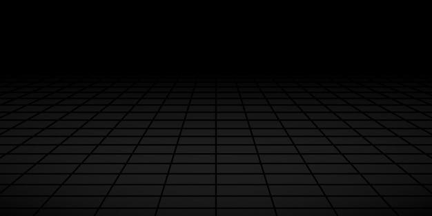 Fondo piastrellato astratto con la prospettiva nei colori neri