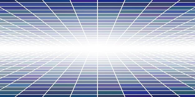 Fondo piastrellato astratto con prospettiva nei colori blu