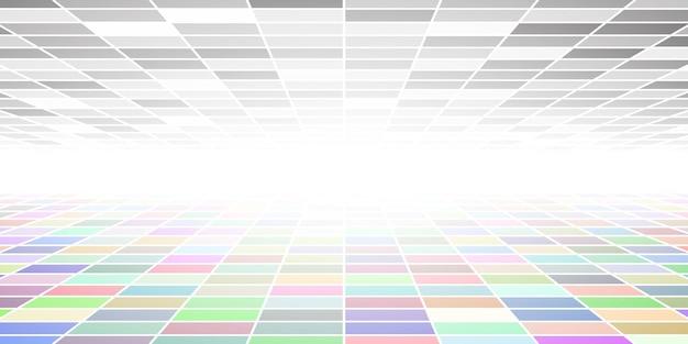 Fondo piastrellato astratto con prospettiva in vari colori