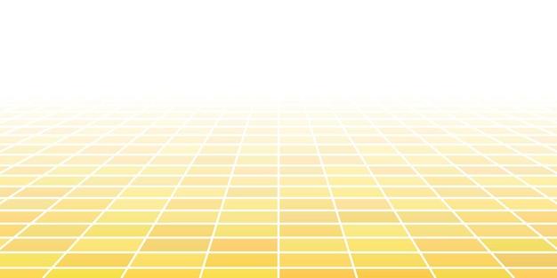 Fondo piastrellato astratto con prospettiva nei colori gialli