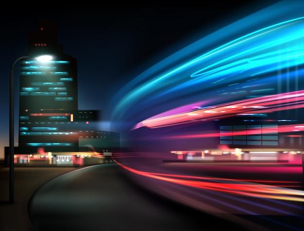 Un movimento di traffico astratto, luci di auto di notte in una lunga esposizione su uno sfondo di città
