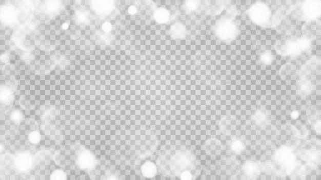 Astratto sfondo chiaro trasparente con effetti bokeh nei colori grigi. trasparenza solo in formato vettoriale