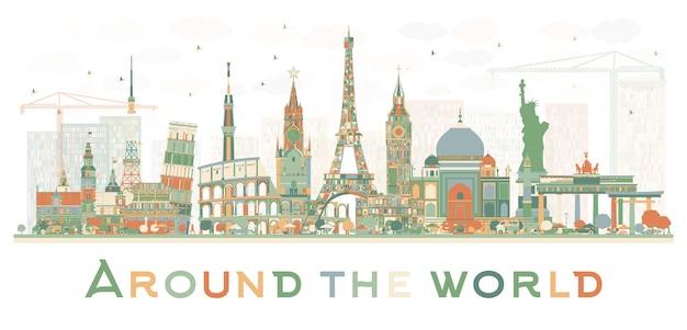 Concetto di viaggio astratto in tutto il mondo con famosi punti di riferimento internazionali. illustrazione di vettore. concetto di affari e turismo. immagine per presentazione, cartellone, banner o sito web.