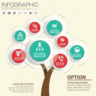 Elementi astratti di infographics dell'albero.