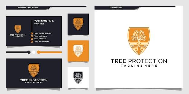 Design del logo di protezione dell'albero astratto con colori unici dello spazio negativo vettore premium
