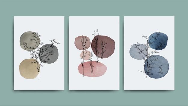 Abstract tree shadow over ombra colore pennello tondo macchia acquerello. set di arte della parete