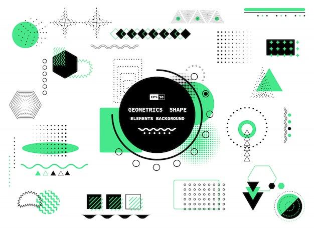 Disegno geometrico alla moda astratto di stile memphis nero e verde