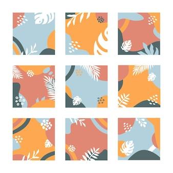 Set astratto alla moda di moderni modelli di post di vendita estiva con foglie e forme tropicali colorate