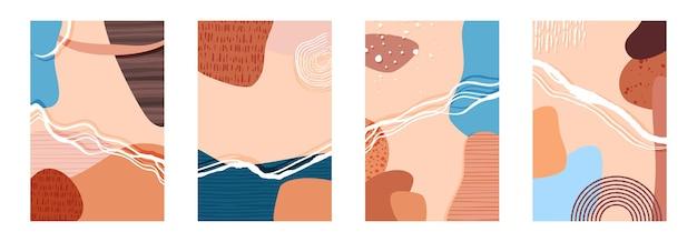 Composizione di forme e linee di stile alla moda astratta, sfondo texture contemporanea per social media, modello di storie, decorazione, cartolina, confezione o design di copertina. illustrazione vettoriale.