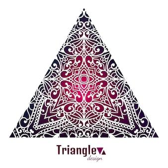 Disegno astratto del triangolo. modello di pizzo. disposizione tribale. sfondo orientale. elemento creativo. motivi arabi. simbolo etnico. ornamento d'epoca. concetto di stampa creativa