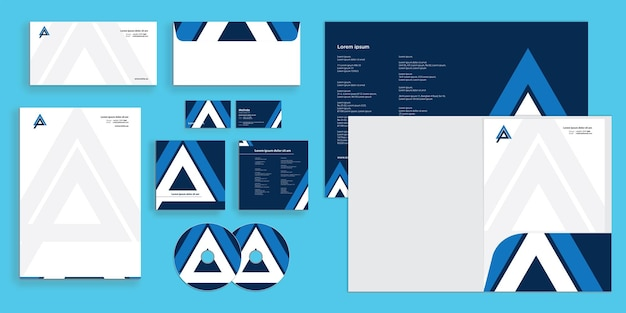 Triangolo astratto lettera a lettera p moderna identità aziendale stazionario