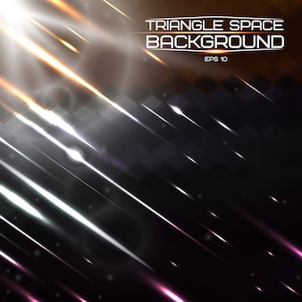 Triangolo astratto spazio sfondo con luci e comete.