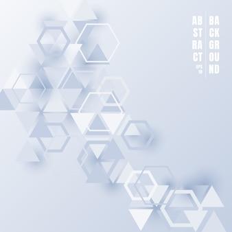 Triangoli astratti ed esagoni su fondo bianco