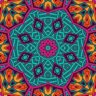 Ornamento senza cuciture etnico dell'annata tribale astratto. mosaico festivo luminoso