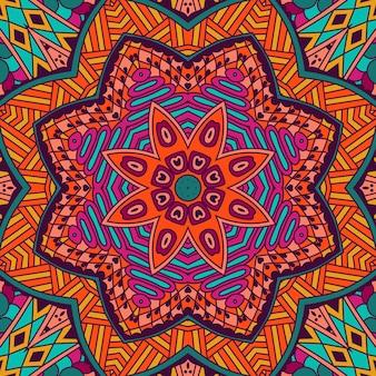 Ornamento senza cuciture etnico dell'annata tribale astratto. disegno di sfondo colorato festivo