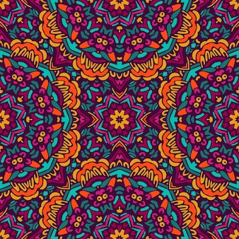 Ornamento senza cuciture etnico dell'annata tribale astratto. disegno di doodle floreale piastrellato