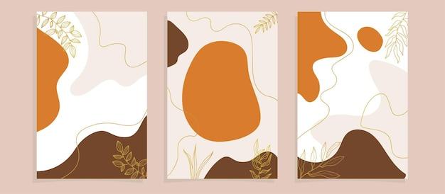 Copertine di poster di foglie tropicali astratte