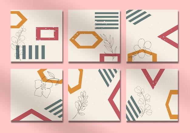 Set di copertine per social media con foglie tropicali astratte