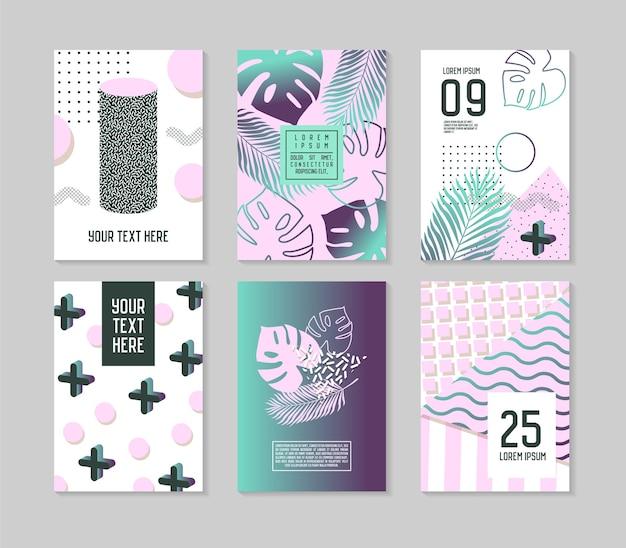 Modelli di poster tropicali astratti con foglie di palma ed elementi geometrici. volantino per banner brochure stile hipster memphis.