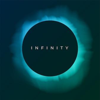Astratto sfondo turchese con copia spazio. eclissi di sole nel cielo notturno. illustrazione per poster, pubblicità, banner, biglietto di auguri. forma rotonda nera con bagliore.