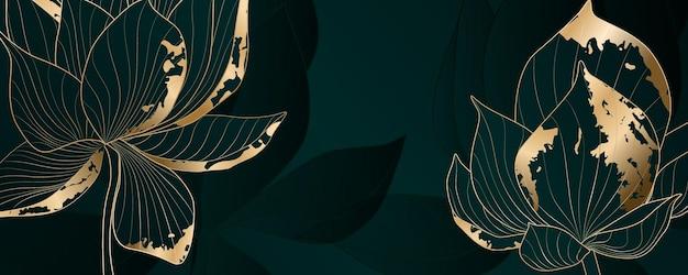 Sfondo turchese astratto con fiori di loto con elementi dorati per la visualizzazione su tessuti, imballaggi e web