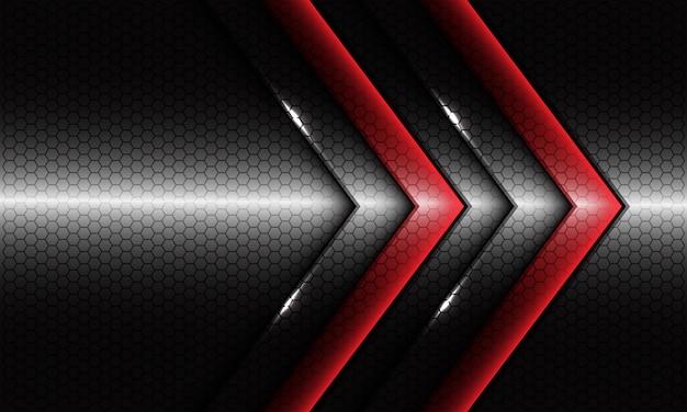 Freccia rossa gemella astratta con disegno in bianco