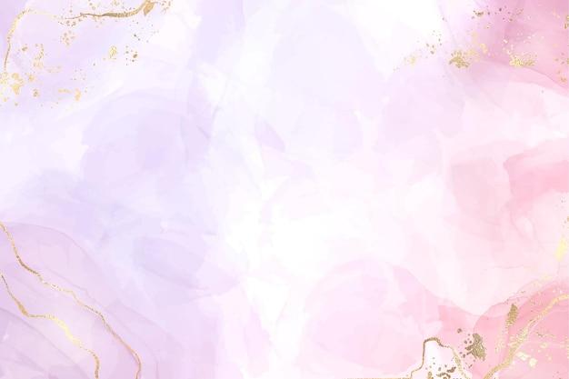 Astratto sfondo di marmo liquido bicolore rosa e lavanda con strisce dorate e polvere glitterata. effetto disegno ad acquerello viola rosa pastello. sfondo di illustrazione vettoriale con schizzi d'oro.